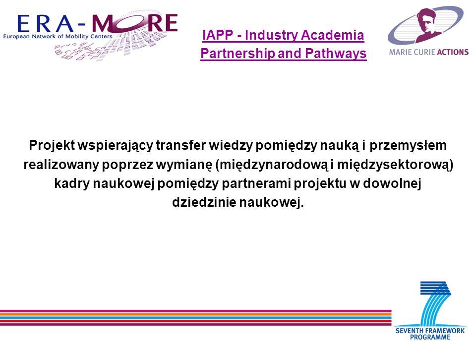 IAPP - Industry Academia Partnership and Pathways Projekt wspierający transfer wiedzy pomiędzy nauką i przemysłem realizowany poprzez wymianę (międzynarodową i międzysektorową) kadry naukowej pomiędzy partnerami projektu w dowolnej dziedzinie naukowej.