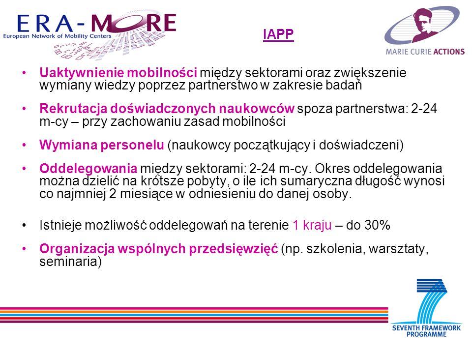 Uaktywnienie mobilności między sektorami oraz zwiększenie wymiany wiedzy poprzez partnerstwo w zakresie badań Rekrutacja doświadczonych naukowców spoza partnerstwa: 2-24 m-cy – przy zachowaniu zasad mobilności Wymiana personelu (naukowcy początkujący i doświadczeni) Oddelegowania między sektorami: 2-24 m-cy.