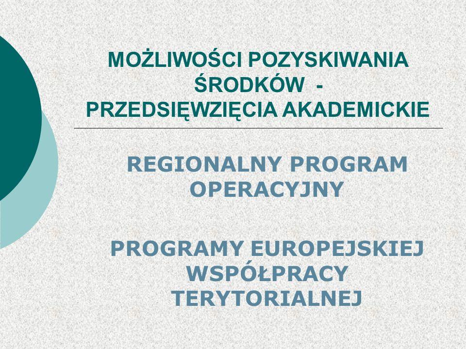 MOŻLIWOŚCI POZYSKIWANIA ŚRODKÓW - PRZEDSIĘWZIĘCIA AKADEMICKIE REGIONALNY PROGRAM OPERACYJNY PROGRAMY EUROPEJSKIEJ WSPÓŁPRACY TERYTORIALNEJ