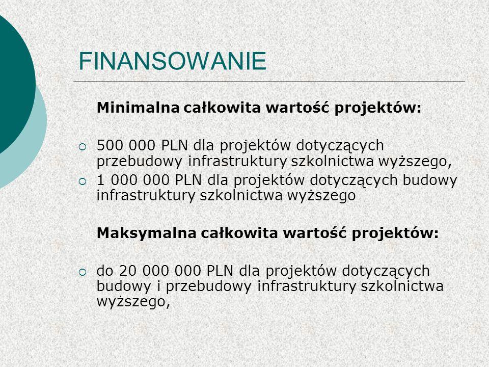 FINANSOWANIE Minimalna całkowita wartość projektów: 500 000 PLN dla projektów dotyczących przebudowy infrastruktury szkolnictwa wyższego, 1 000 000 PLN dla projektów dotyczących budowy infrastruktury szkolnictwa wyższego Maksymalna całkowita wartość projektów: do 20 000 000 PLN dla projektów dotyczących budowy i przebudowy infrastruktury szkolnictwa wyższego,