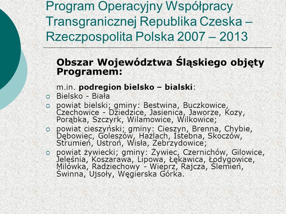 Obszar Województwa Śląskiego objęty Programem: m.in.