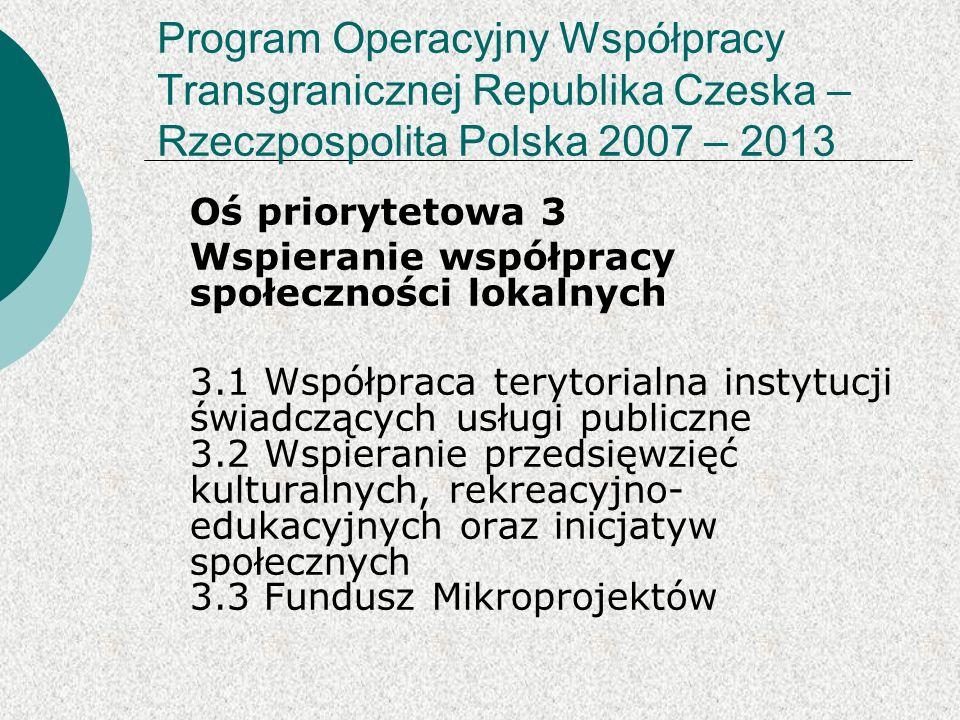 Program Operacyjny Współpracy Transgranicznej Republika Czeska – Rzeczpospolita Polska 2007 – 2013 Oś priorytetowa 3 Wspieranie współpracy społeczności lokalnych 3.1 Współpraca terytorialna instytucji świadczących usługi publiczne 3.2 Wspieranie przedsięwzięć kulturalnych, rekreacyjno- edukacyjnych oraz inicjatyw społecznych 3.3 Fundusz Mikroprojektów