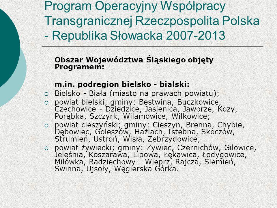 Program Operacyjny Współpracy Transgranicznej Rzeczpospolita Polska - Republika Słowacka 2007-2013 Obszar Województwa Śląskiego objęty Programem: m.in.