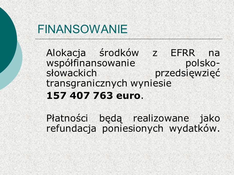 FINANSOWANIE Alokacja środków z EFRR na współfinansowanie polsko- słowackich przedsięwzięć transgranicznych wyniesie 157 407 763 euro.