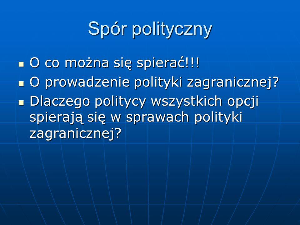 Spór polityczny O co można się spierać!!! O co można się spierać!!! O prowadzenie polityki zagranicznej? O prowadzenie polityki zagranicznej? Dlaczego
