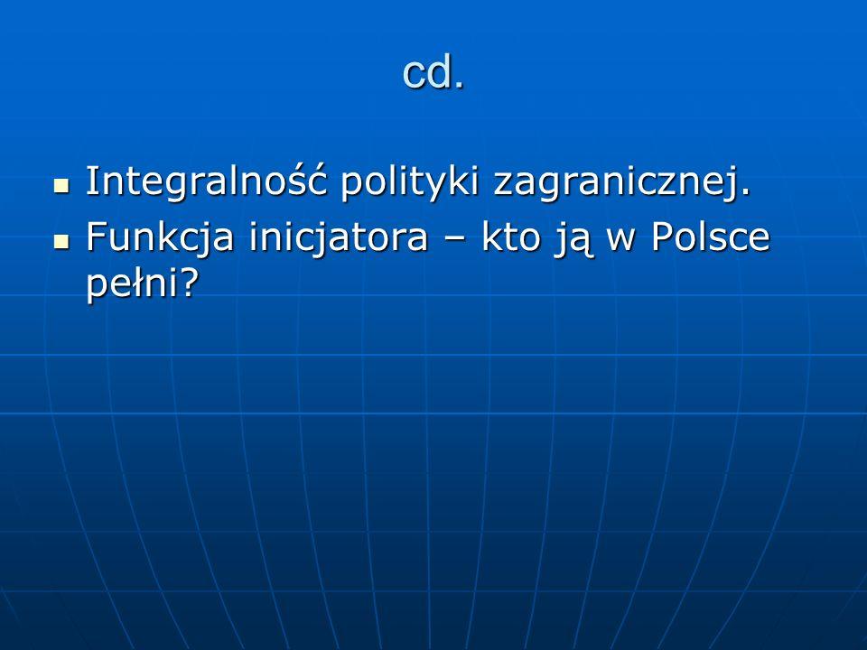 cd. Integralność polityki zagranicznej. Integralność polityki zagranicznej. Funkcja inicjatora – kto ją w Polsce pełni? Funkcja inicjatora – kto ją w