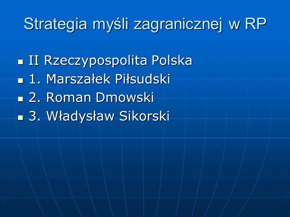 Strategia myśli zagranicznej w RP II Rzeczypospolita Polska II Rzeczypospolita Polska 1. Marszałek Piłsudski 1. Marszałek Piłsudski 2. Roman Dmowski 2