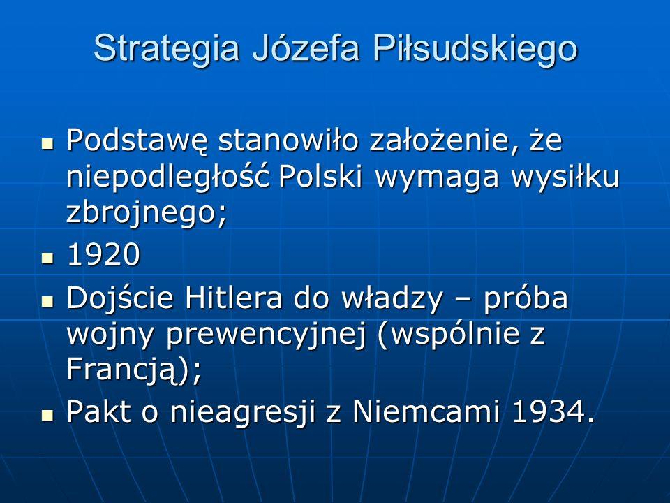 Strategia Józefa Piłsudskiego Podstawę stanowiło założenie, że niepodległość Polski wymaga wysiłku zbrojnego; Podstawę stanowiło założenie, że niepodl