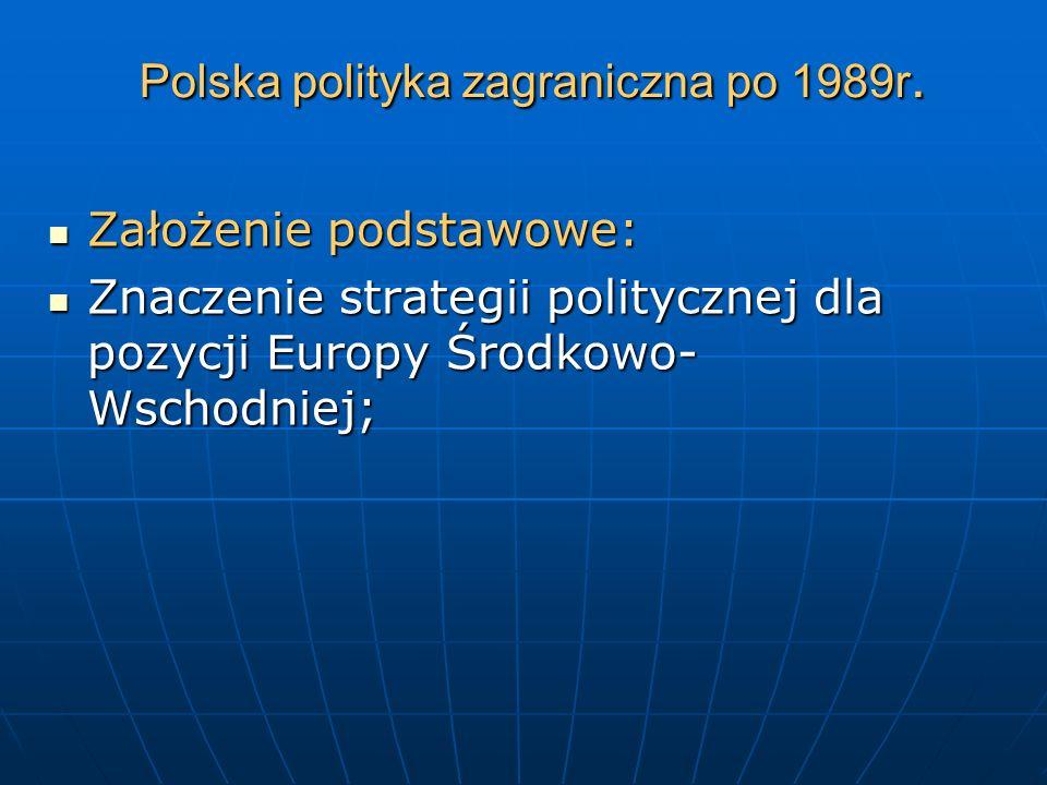 Polska polityka zagraniczna po 1989r. Założenie podstawowe: Założenie podstawowe: Znaczenie strategii politycznej dla pozycji Europy Środkowo- Wschodn