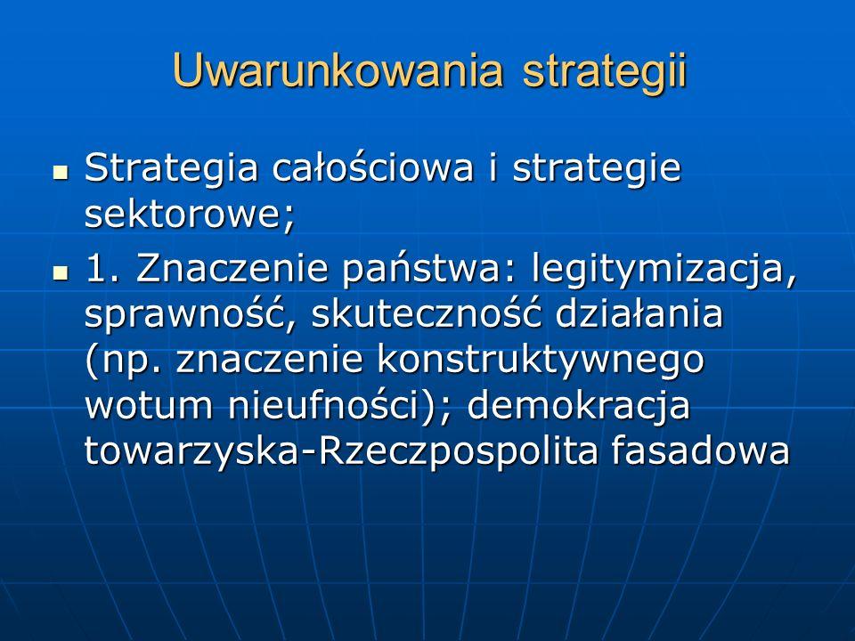 Uwarunkowania strategii Strategia całościowa i strategie sektorowe; Strategia całościowa i strategie sektorowe; 1. Znaczenie państwa: legitymizacja, s