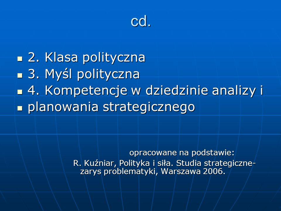 cd. 2. Klasa polityczna 2. Klasa polityczna 3. Myśl polityczna 3. Myśl polityczna 4. Kompetencje w dziedzinie analizy i 4. Kompetencje w dziedzinie an