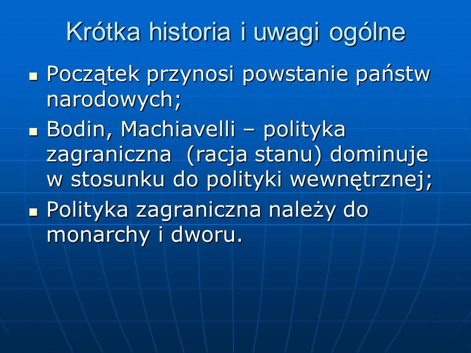 Krótka historia i uwagi ogólne Początek przynosi powstanie państw narodowych; Początek przynosi powstanie państw narodowych; Bodin, Machiavelli – poli