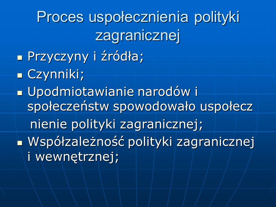 Proces uspołecznienia polityki zagranicznej Przyczyny i źródła; Przyczyny i źródła; Czynniki; Czynniki; Upodmiotawianie narodów i społeczeństw spowodo