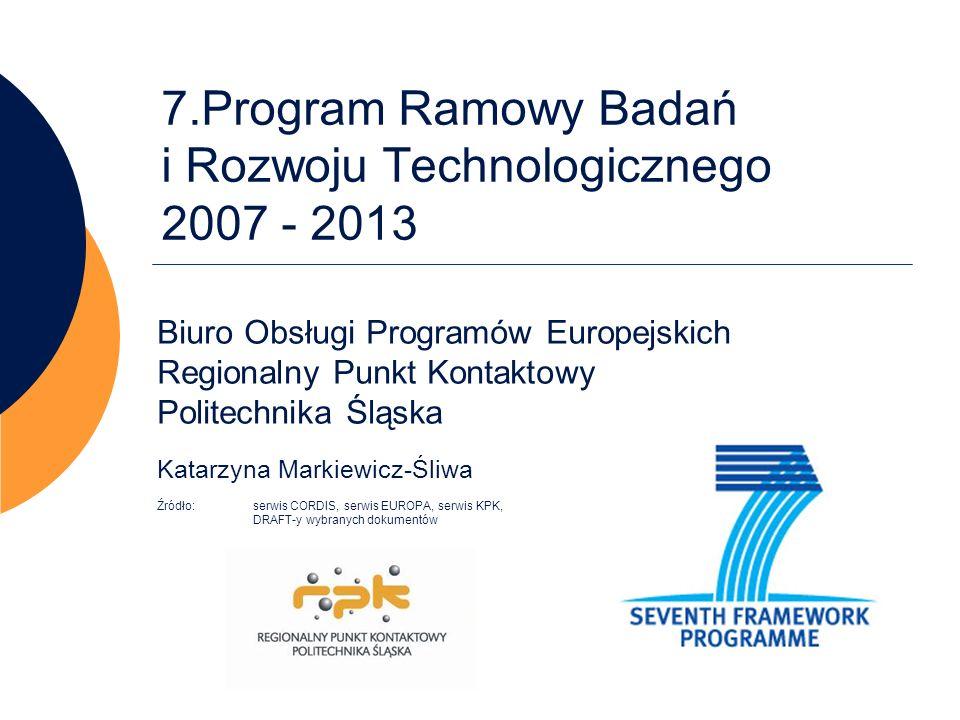 7.Program Ramowy Badań i Rozwoju Technologicznego 2007 - 2013 Biuro Obsługi Programów Europejskich Regionalny Punkt Kontaktowy Politechnika Śląska Kat