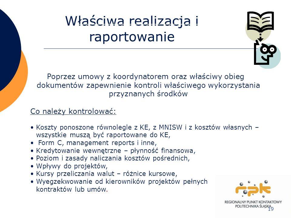 19 Właściwa realizacja i raportowanie Poprzez umowy z koordynatorem oraz właściwy obieg dokumentów zapewnienie kontroli właściwego wykorzystania przyz