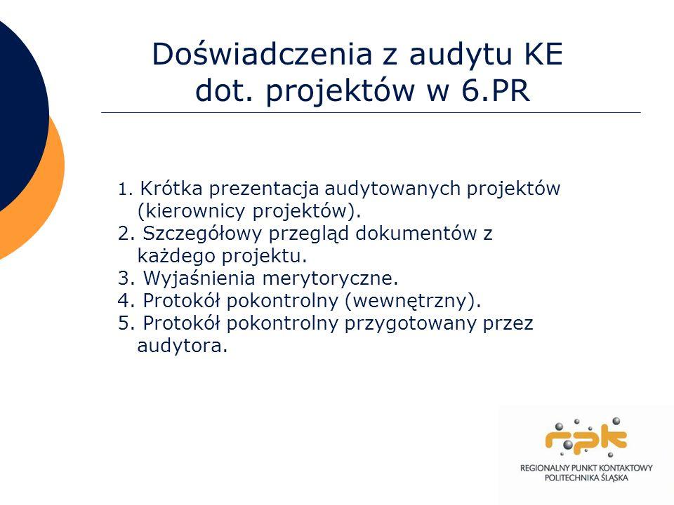 22 Doświadczenia z audytu KE dot. projektów w 6.PR 1. Krótka prezentacja audytowanych projektów (kierownicy projektów). 2. Szczegółowy przegląd dokume