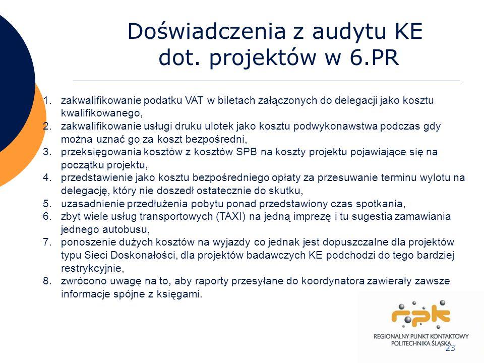 23 Doświadczenia z audytu KE dot. projektów w 6.PR 1.zakwalifikowanie podatku VAT w biletach załączonych do delegacji jako kosztu kwalifikowanego, 2.z