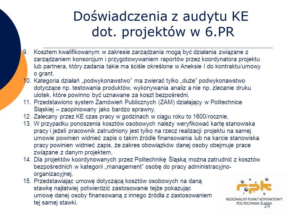 24 Doświadczenia z audytu KE dot. projektów w 6.PR 9.Kosztem kwalifikowanym w zakresie zarządzania mogą być działania związane z zarządzaniem konsorcj