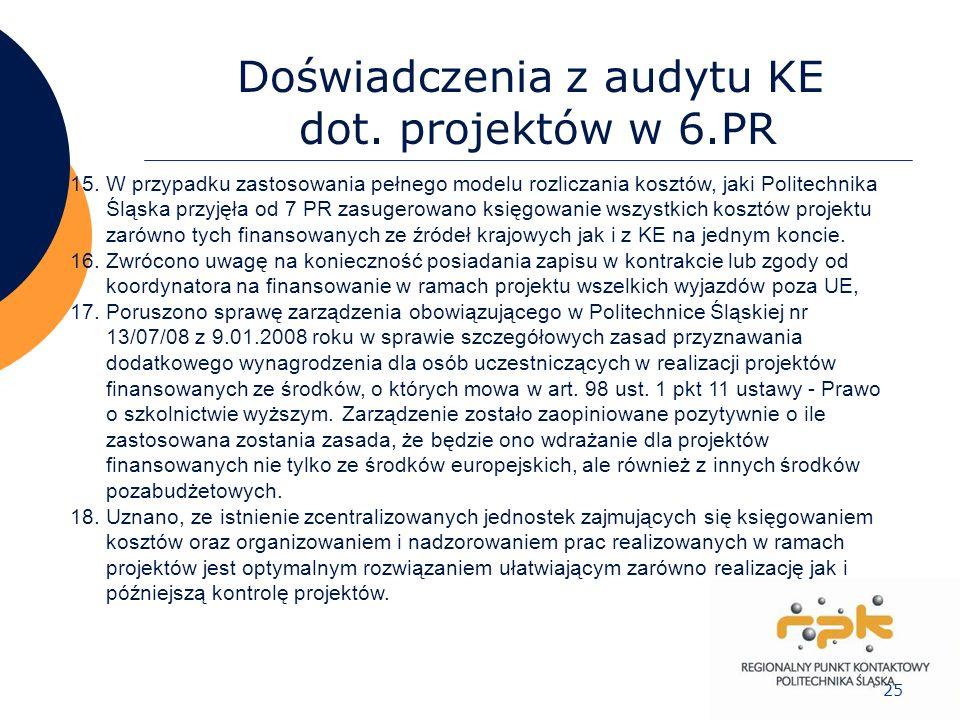 25 Doświadczenia z audytu KE dot. projektów w 6.PR 15.W przypadku zastosowania pełnego modelu rozliczania kosztów, jaki Politechnika Śląska przyjęła o