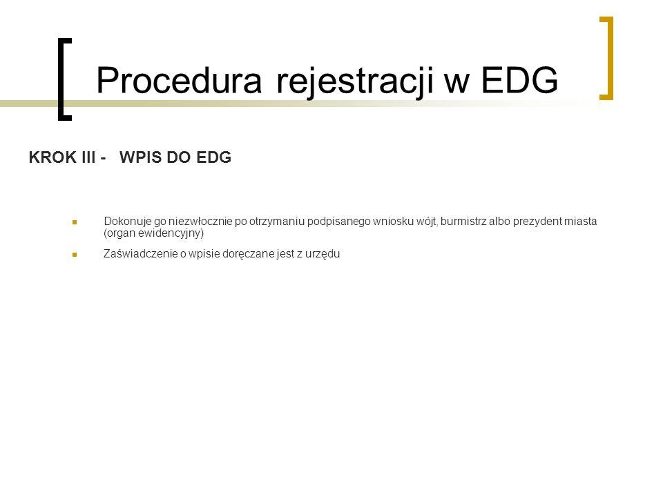 Procedura rejestracji w EDG Dokonuje go niezwłocznie po otrzymaniu podpisanego wniosku wójt, burmistrz albo prezydent miasta (organ ewidencyjny) Zaświ