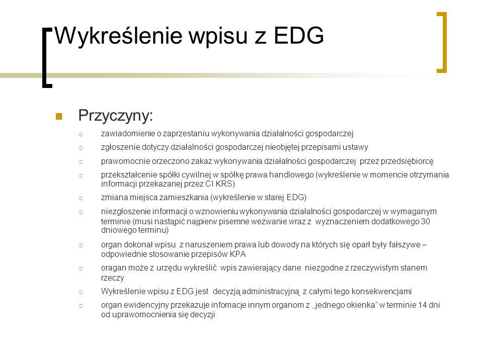 Wykreślenie wpisu z EDG Przyczyny: zawiadomienie o zaprzestaniu wykonywania działalności gospodarczej zgłoszenie dotyczy działalności gospodarczej nie