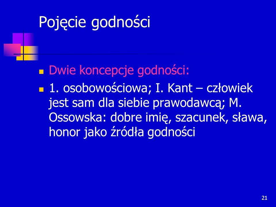 21 Pojęcie godności Dwie koncepcje godności: 1. osobowościowa; I. Kant – człowiek jest sam dla siebie prawodawcą; M. Ossowska: dobre imię, szacunek, s