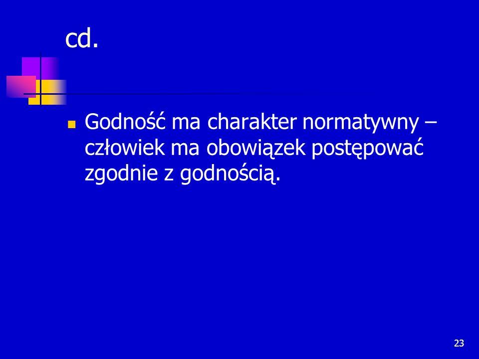 23 cd. Godność ma charakter normatywny – człowiek ma obowiązek postępować zgodnie z godnością.