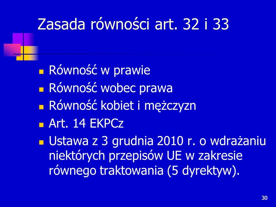 30 Zasada równości art. 32 i 33 Równość w prawie Równość wobec prawa Równość kobiet i mężczyzn Art. 14 EKPCz Ustawa z 3 grudnia 2010 r. o wdrażaniu ni