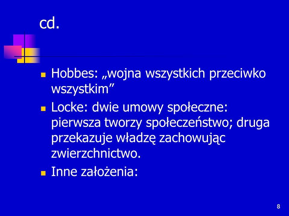 8 cd. Hobbes: wojna wszystkich przeciwko wszystkim Locke: dwie umowy społeczne: pierwsza tworzy społeczeństwo; druga przekazuje władzę zachowując zwie