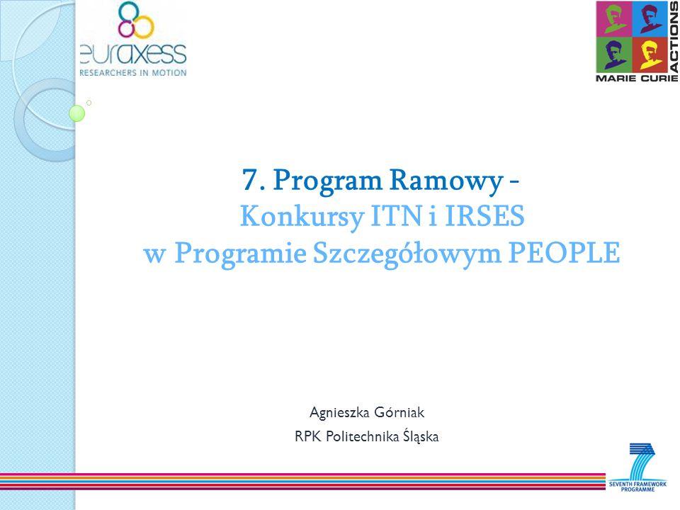 7. Program Ramowy - Konkursy ITN i IRSES w Programie Szczegółowym PEOPLE Agnieszka Górniak RPK Politechnika Śląska