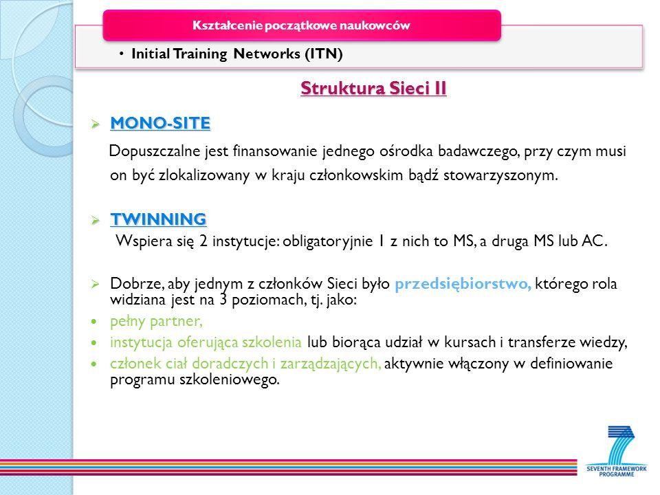 Struktura Sieci II MONO-SITE MONO-SITE Dopuszczalne jest finansowanie jednego ośrodka badawczego, przy czym musi on być zlokalizowany w kraju członkow