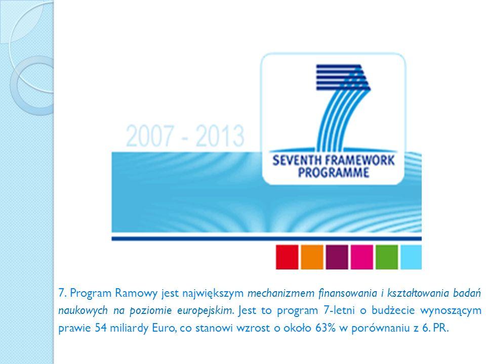 7. Program Ramowy jest największym mechanizmem finansowania i kształtowania badań naukowych na poziomie europejskim. Jest to program 7-letni o budżeci