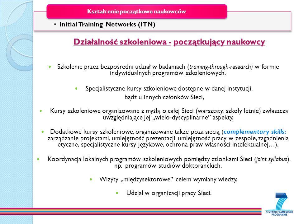 Działalność szkoleniowa - początkujący naukowcy Działalność szkoleniowa - początkujący naukowcy Szkolenie przez bezpośredni udział w badaniach (traini