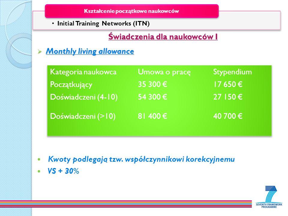 Świadczenia dla naukowców I Świadczenia dla naukowców I Monthly living allowance Monthly living allowance Kwoty podlegają tzw. współczynnikowi korekcy