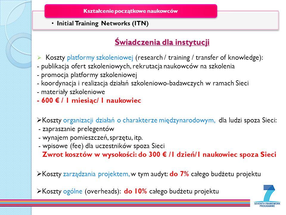 Świadczenia dla instytucji Świadczenia dla instytucji Koszty platformy szkoleniowej (research / training / transfer of knowledge): - publikacja ofert