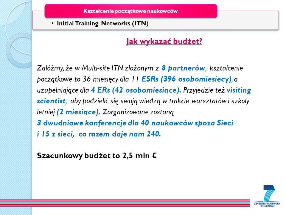 Jak wykazać budżet? Jak wykazać budżet? Załóżmy, że w Multi-site ITN złożonym z 8 partnerów, kształcenie początkowe to 36 miesięcy dla 11 ESRs (396 os