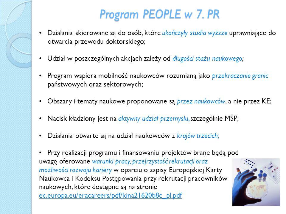 Program PEOPLE w 7. PR Działania skierowane są do osób, które ukończyły studia wyższe uprawniające do otwarcia przewodu doktorskiego; Udział w poszcze