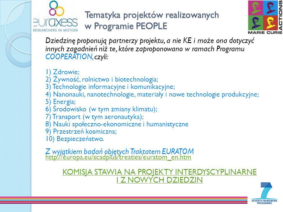 Tematyka projektów realizowanych w Programie PEOPLE Dziedzinę proponują partnerzy projektu, a nie KE i może ona dotyczyć innych zagadnień niż te, któr