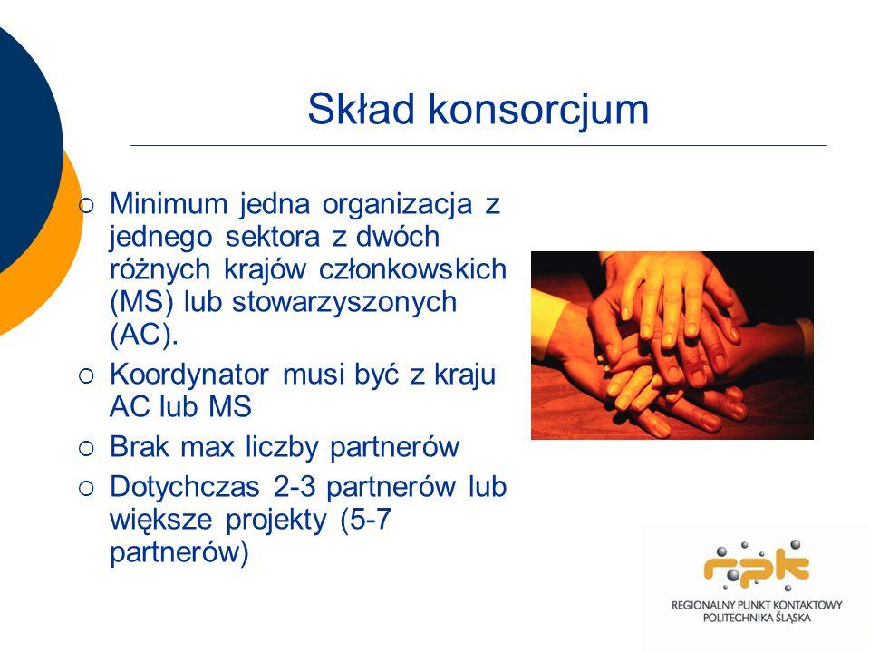 Skład konsorcjum Minimum jedna organizacja z jednego sektora z dwóch różnych krajów członkowskich (MS) lub stowarzyszonych (AC).
