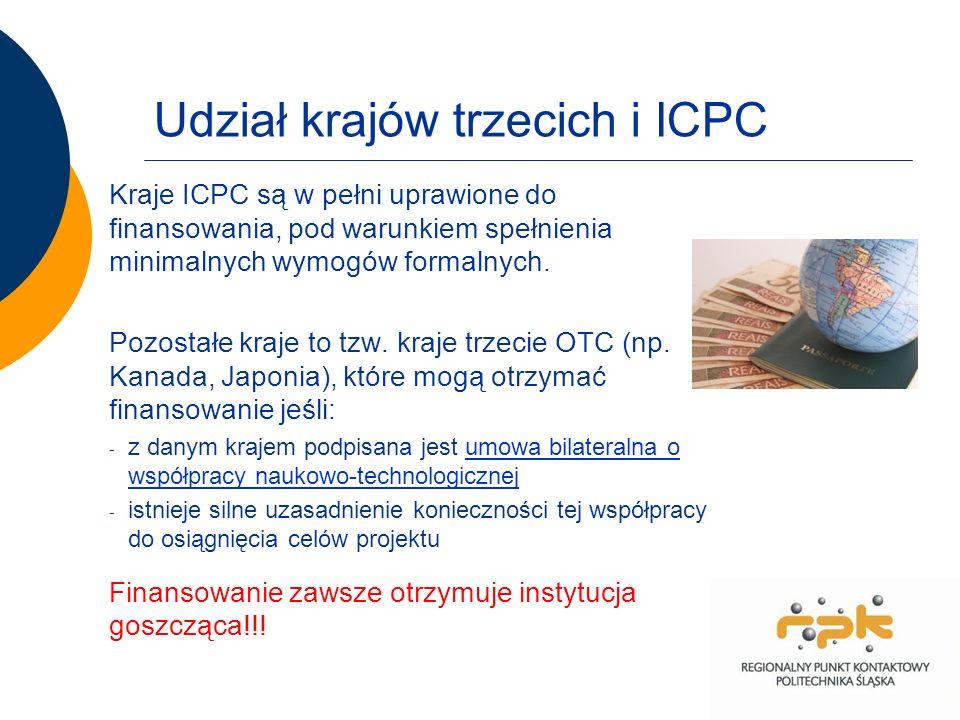 Udział krajów trzecich i ICPC Kraje ICPC są w pełni uprawione do finansowania, pod warunkiem spełnienia minimalnych wymogów formalnych.