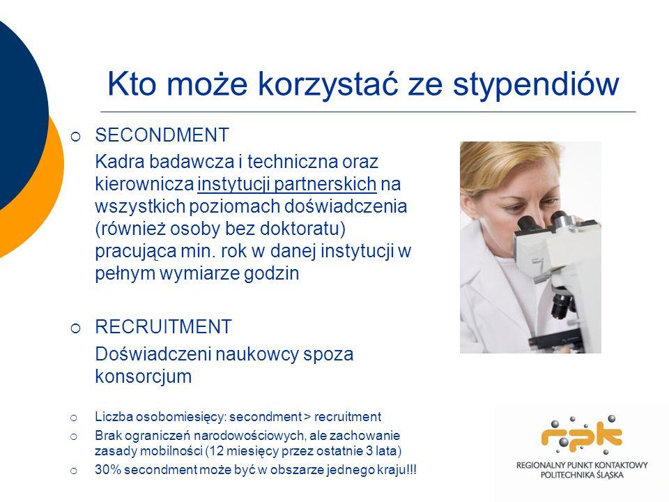 Kto może korzystać ze stypendiów SECONDMENT Kadra badawcza i techniczna oraz kierownicza instytucji partnerskich na wszystkich poziomach doświadczenia (również osoby bez doktoratu) pracująca min.