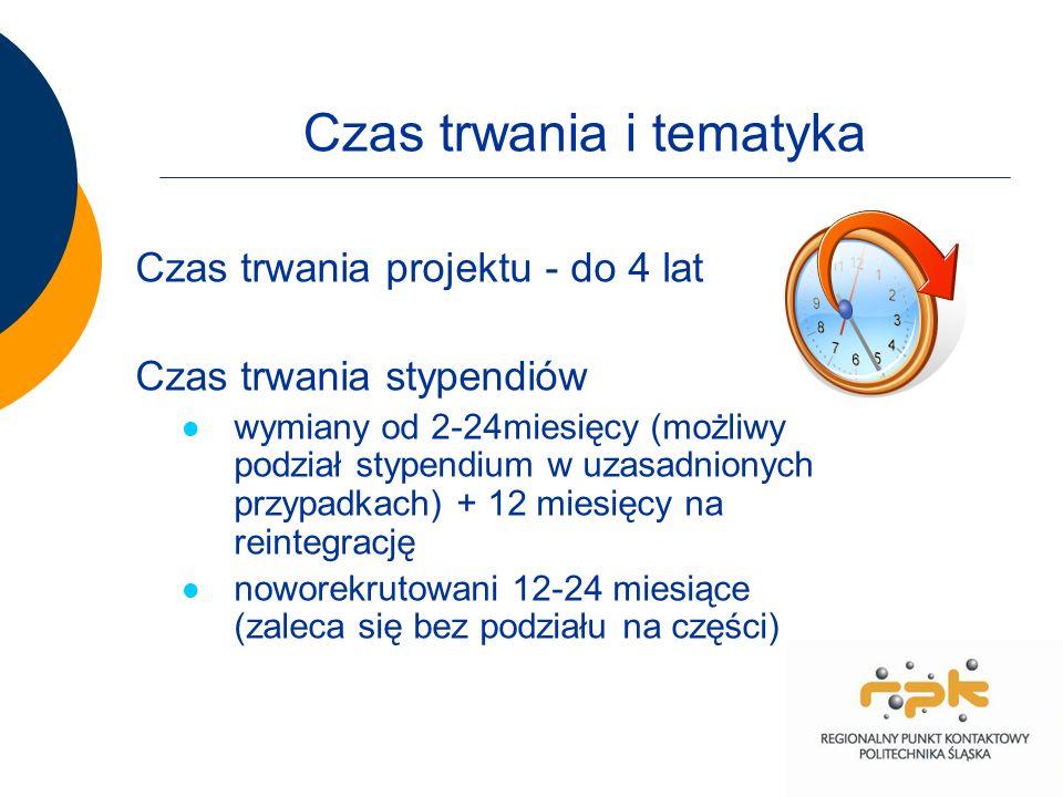 Czas trwania i tematyka Czas trwania projektu - do 4 lat Czas trwania stypendiów wymiany od 2-24miesięcy (możliwy podział stypendium w uzasadnionych przypadkach) + 12 miesięcy na reintegrację noworekrutowani 12-24 miesiące (zaleca się bez podziału na części)