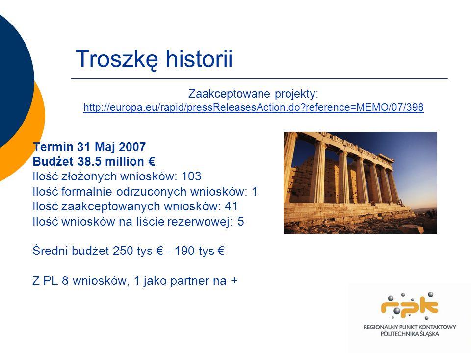 Troszkę historii Termin 31 Maj 2007 Budżet 38.5 million Ilość złożonych wniosków: 103 Ilość formalnie odrzuconych wniosków: 1 Ilość zaakceptowanych wniosków: 41 Ilość wniosków na liście rezerwowej: 5 Średni budżet 250 tys - 190 tys Z PL 8 wniosków, 1 jako partner na + Zaakceptowane projekty: http://europa.eu/rapid/pressReleasesAction.do reference=MEMO/07/398