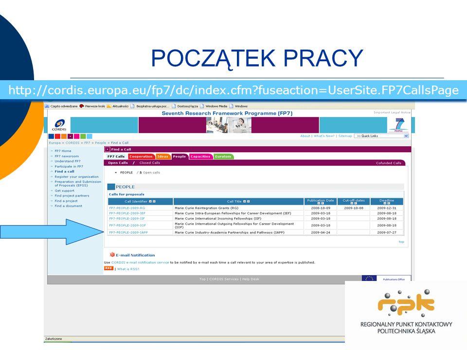 POCZĄTEK PRACY http://cordis.europa.eu/fp7/dc/index.cfm fuseaction=UserSite.FP7CallsPage