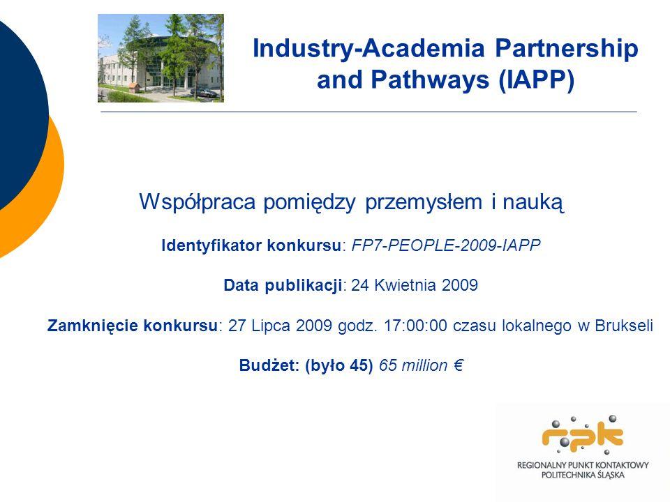 Współpraca pomiędzy przemysłem i nauką Identyfikator konkursu: FP7-PEOPLE-2009-IAPP Data publikacji: 24 Kwietnia 2009 Zamknięcie konkursu: 27 Lipca 2009 godz.