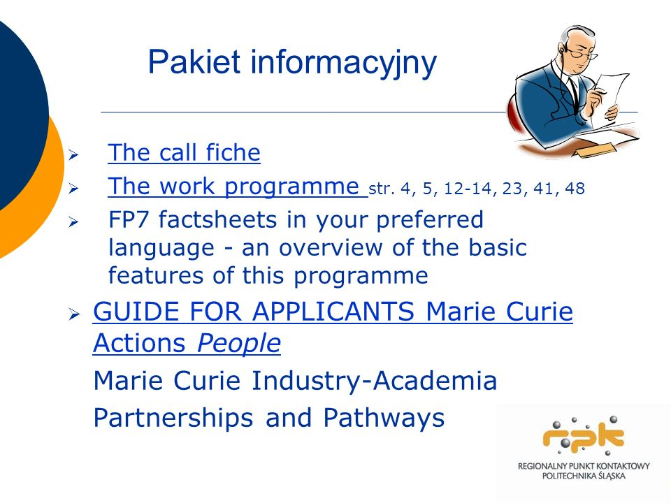 Pakiet informacyjny The call fiche The work programme str.