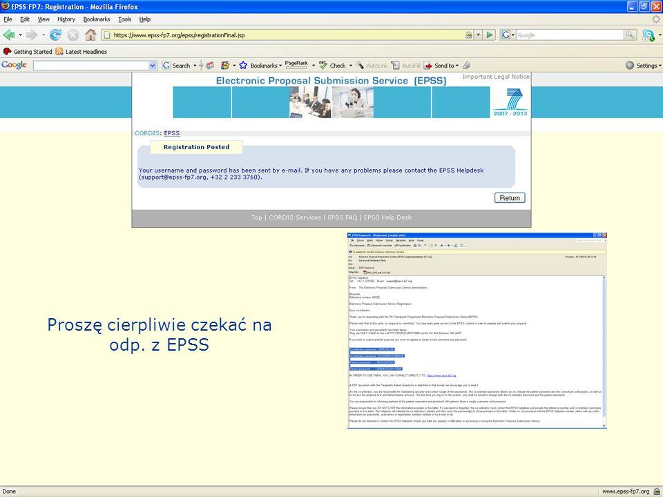Regionalny Punkt Kontaktowy Proszę cierpliwie czekać na odp. z EPSS