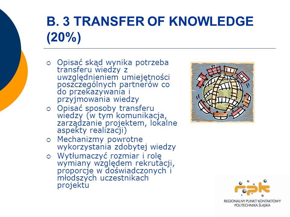 B. 3 TRANSFER OF KNOWLEDGE (20%) Opisać skąd wynika potrzeba transferu wiedzy z uwzględnieniem umiejętności poszczególnych partnerów co do przekazywan