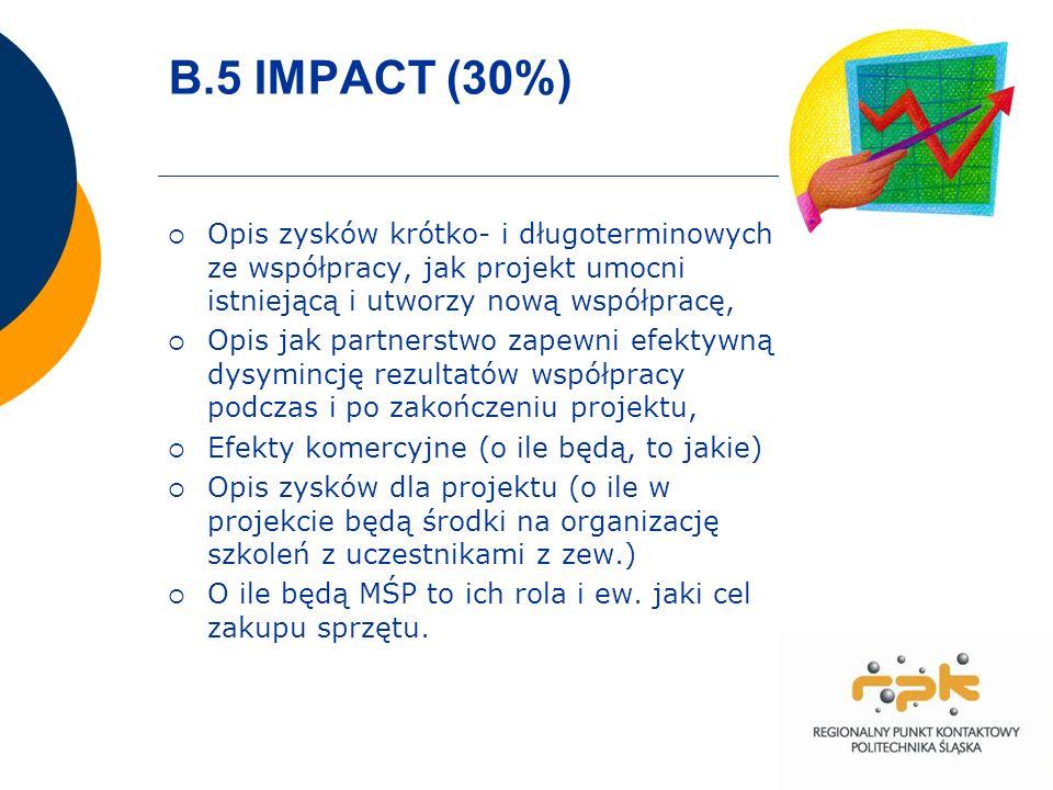 B.5 IMPACT (30%) Opis zysków krótko- i długoterminowych ze współpracy, jak projekt umocni istniejącą i utworzy nową współpracę, Opis jak partnerstwo zapewni efektywną dysymincję rezultatów współpracy podczas i po zakończeniu projektu, Efekty komercyjne (o ile będą, to jakie) Opis zysków dla projektu (o ile w projekcie będą środki na organizację szkoleń z uczestnikami z zew.) O ile będą MŚP to ich rola i ew.
