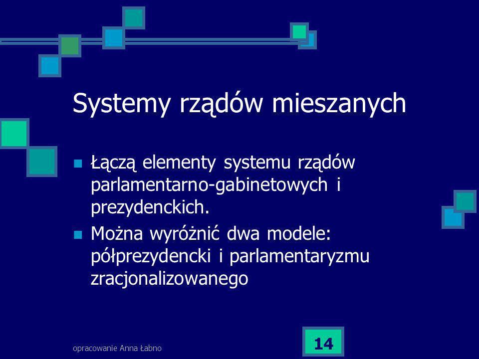 opracowanie Anna Łabno 14 Systemy rządów mieszanych Łączą elementy systemu rządów parlamentarno-gabinetowych i prezydenckich. Można wyróżnić dwa model